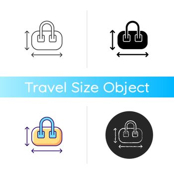 Hand luggage size icon