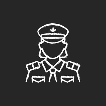 Female chief officer chalk white icon on dark background