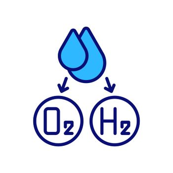 Water splitting for hydrogen production RGB color icon