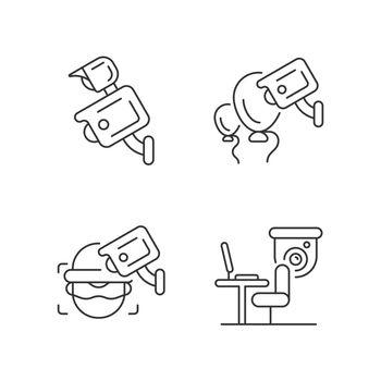 Surveillance management linear icons set
