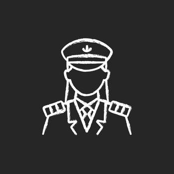 Female captain chalk white icon on dark background
