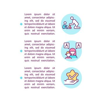 Behavior and communication approaches concept line icons with text