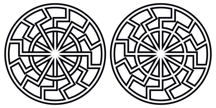 Symbol pagan sun sign curves rays, vector sun icon