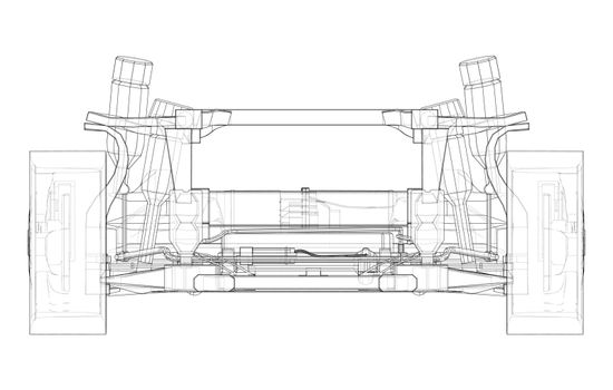 Electric Car Chassis with battery. Vector