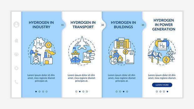 Hydrogen consumption onboarding vector template