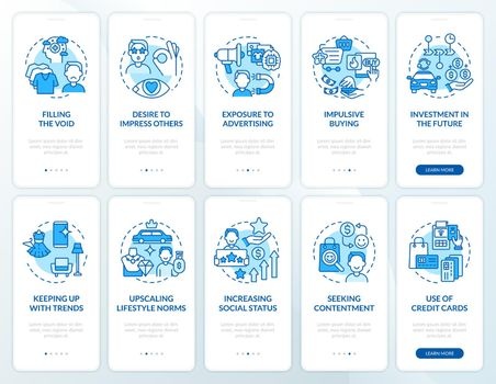 Consumerism blue onboarding mobile app page screen set