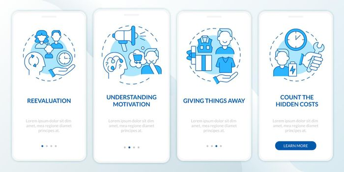 Challenging consumerism blue onboarding mobile app page screen