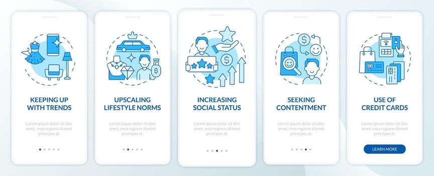 Consumerism motivation blue onboarding mobile app page screen