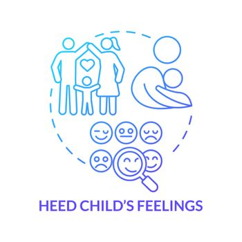 Heed child feelings blue gradient concept icon