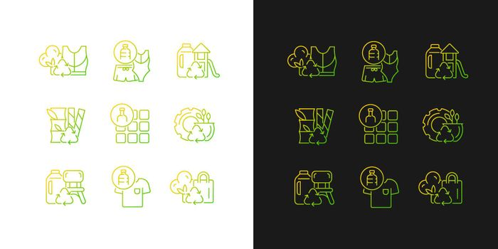 Natural resources conservation gradient icons set for dark and light mode
