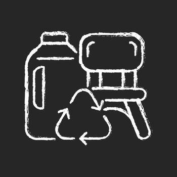 Plastic lumber from plastic bottles chalk white icon on dark background