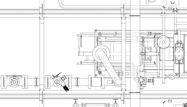 Pump station. Vector
