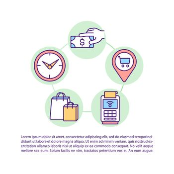 Customer behavior patterns concept line icons with text
