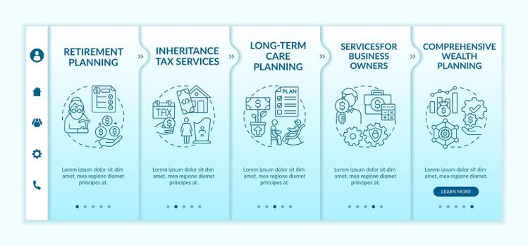 Wealth control services onboarding vector template