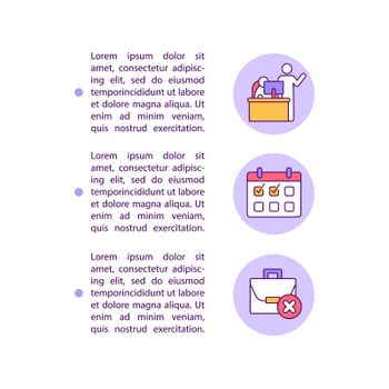 Notifying your employer concept line icons with text