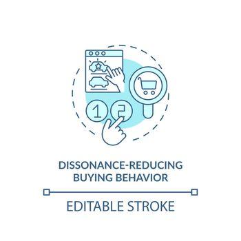 Dissonance-reducing buying behavior concept icon
