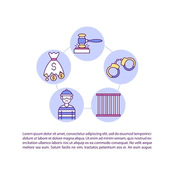 Criminal remedies for infringement concept line icons with text