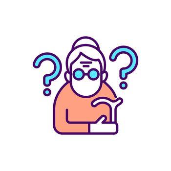 Confused elderly woman RGB color icon