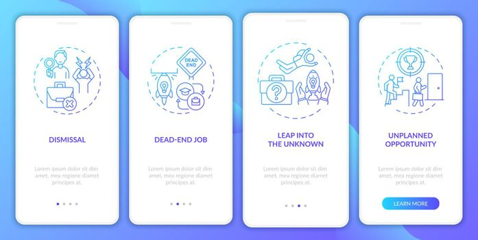 Job transition reasons onboarding mobile app page screen with concepts