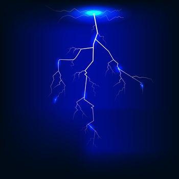 Vector illustration of  Lightning of dark blue background