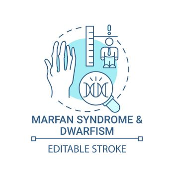Marfan syndrome and dwarfism blue concept icon