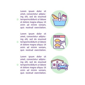 Types of consumer behavior concept line icons with text