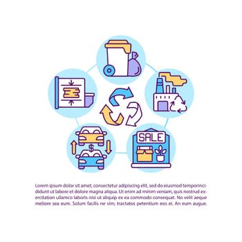 Disposal of goods and services concept line icons with text