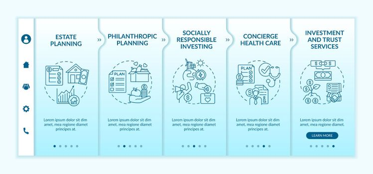 Wealth counselling services onboarding vector template