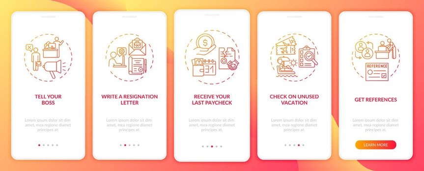 Resignation checklist onboarding mobile app page screen with concepts