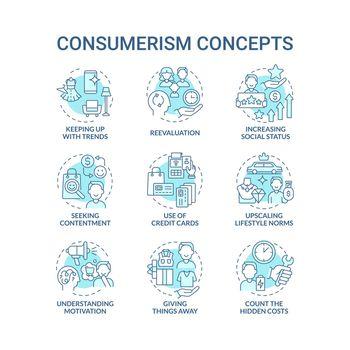 Consumerism blue concept icons set
