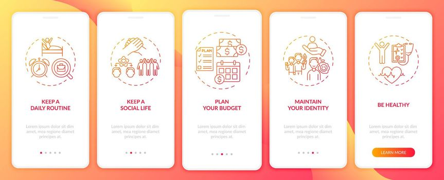 Job transition tips onboarding mobile app page screen with concepts