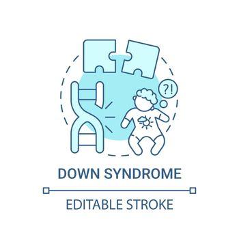 Down syndrome blue concept icon