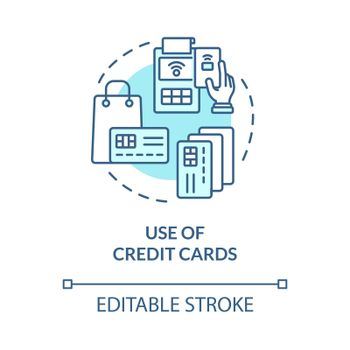 Credit card using blue concept icon