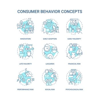 Consumer behavior concept icons set