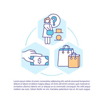 Consumer decision styles concept line icons with text