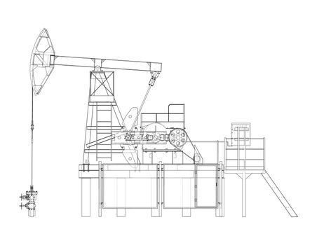 Industrial equipment for oil extraction. Vector