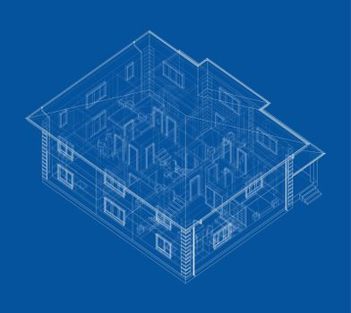 Residential building technical drawing. Vector