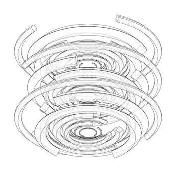 Concentric, radiating circles. Vector