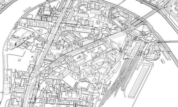 Urban modern landscape. Vector