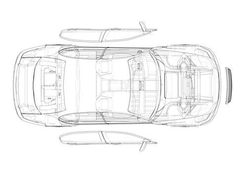 Assembling electric car. Vector