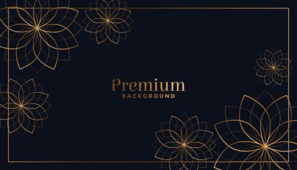 black and golden flowers ornamental background