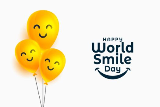 world smile day banner with happy face balloons