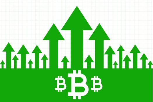 bitcoin growth upward green arrow concept