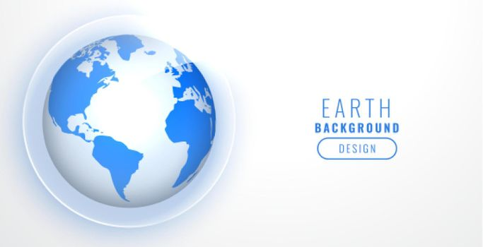 realistic blue earth on white background