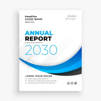 stylish blue wave annual report business brochure design