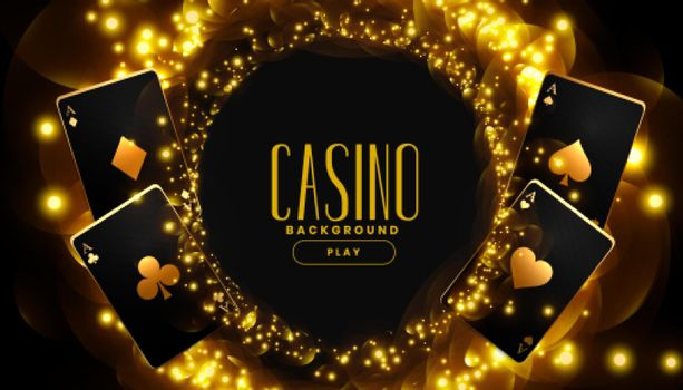 golden casino background with playing cards