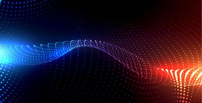 particles background with blue and orange lights