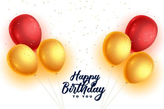 realistic happy birthday balloons background