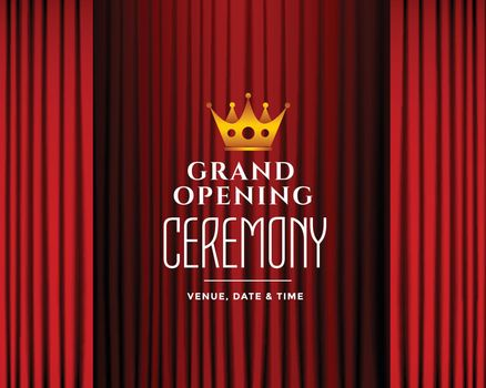 grand opening ceremony background with red curtains