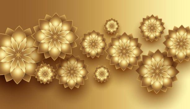realistic 3d golden flowers decorative background